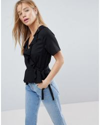 ASOS - Design Wrap Top With Ruffle Detail - Lyst