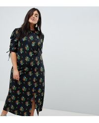 ASOS - Asos Design Curve City Maxi Tea Dress With Split In Black Floral - Lyst