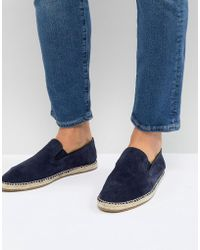 Frank Wright - Slip On Espadrilles In Navy Suede - Lyst