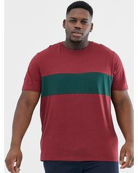 New Look - Plus T-shirt With Colour Block In Burgundy - Lyst