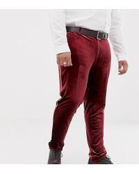 ASOS - Plus Super Skinny Smart Trouser In Burgundy Velvet With Gold Piping - Lyst