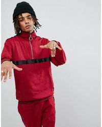 Sixth June - Track Jacket In Burgundy With Taping - Lyst