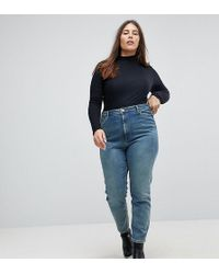 ASOS - Asos Design Curve Farleigh High Waist Slim Mom Jeans In Chayne Wash - Lyst