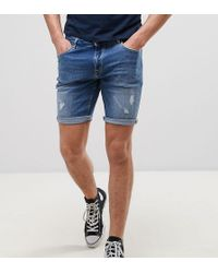 ASOS - Tall Skinny Denim Shorts In Mid Wash Blue With Rip And Repair - Lyst