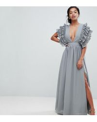 True Decadence - Premium Plunge Front Maxi Dress With Shoulder Detail - Lyst