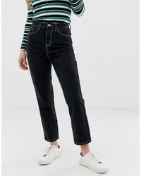 32c44c0f5ab ONLY - Contrast Stitch Mom Jean In Black - Lyst