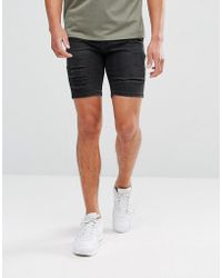 11 Degrees - Super Skinny Denim Shorts In Black - Lyst
