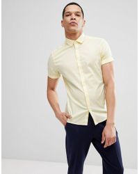 ASOS - Design Skinny Shirt In Yellow With Short Sleeves - Lyst