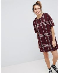 Pull&Bear - Check Tunic Dress - Lyst