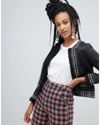 River Island - Quilted Jacket With Tweed Detail In Black - Lyst