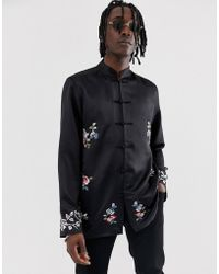 594a45407 ASOS - Regular Fit Satin Mandarin Collar Shirt With Embroidery - Lyst