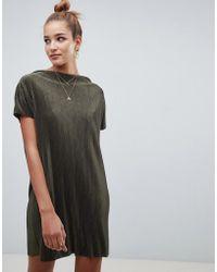 ASOS DESIGN - Slash Neck T-shirt Dress In Plisse - Lyst