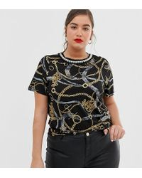 River Island - Tee With Contrast Tipping In Chain Print - Lyst