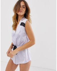 7df5f24cc883 Bluebella - Cashmar Satin Playsuit With Lace Trim In Lilac - Lyst
