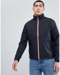 Tommy Hilfiger - Icon Stripe Zip Jacket Concealed Hood Flag Logo In Black - Lyst