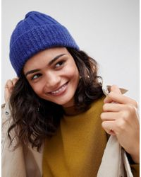 ASOS - Rib Turn Up Beanie In Colbolt Blue - Lyst