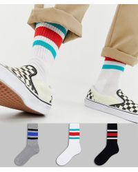 ASOS - Sports Style Socks With Retro Wide Stripes 3 Pack - Lyst