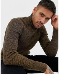 ASOS - Muscle Fit Ribbed Roll Neck Jumper In Tan Twist - Lyst