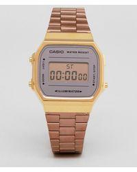 G-Shock - A168w Digital Bracelet Watch In Rose Gold Mirror - Lyst