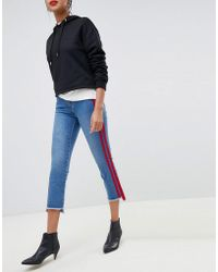 ONLY - Straight Leg Crop Jean With Sports Stripe - Lyst