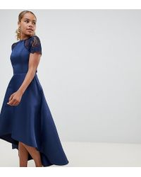 7af145fa1f0a Chi Chi London - High Low Hem Midi Dress With Lace Sleeves - Lyst