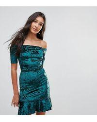 Oh My Love - Velvet Off Shoulder Pephem Dress - Lyst