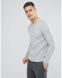 Ted Baker - Sweat With Sleeve Detail In Grey - Lyst