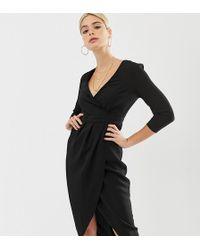 ASOS - Asos Design Tall Midi Dress With Wrap Skirt - Lyst