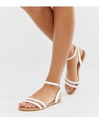 030e9946fbd7 Boohoo - Strappy Flat Sandals With Ankle Strap In White - Lyst