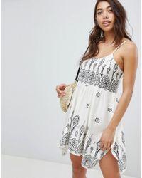 ASOS - Bandana Print Placement Hanky Hem Beach Dress - Lyst