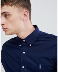 Polo Ralph Lauren - Player Logo Slim Fit Poplin Shirt Button-down In Navy - Lyst