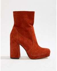 Office - Aba Red Suede Block Heeled Boot - Lyst