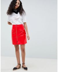 Glamorous - A Line Vinyl Skirt With Zip Front - Lyst