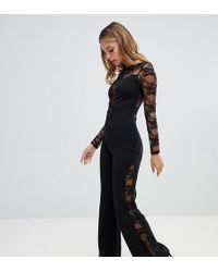 00562c4f5fb9 John Zack - Long Sleeve Jumpsuit With Lace Insert In Black - Lyst
