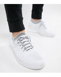 Pull&Bear - Exclusive Knitted Trainers In White With Logo - Lyst