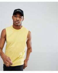 4a8049ec78572 Lyst - Asos Sleeveless T-shirt With Distressed Acid Wash And Extreme ...
