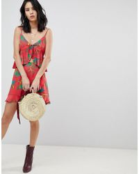 Honey Punch - Mini Skirt With Ruffle Detail In Tropical Print Co-ord - Lyst
