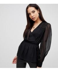 ASOS - Asos Design Tall Sheer Long Sleeve Wrap Top With Lace Inserts - Lyst