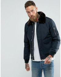 Schott Nyc - Air Bomber Jacket Faux Fur Collar - Lyst