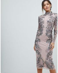 ASOS - Placed Scattered Sequin Midi Dress - Lyst
