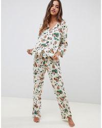 ASOS - Asos Design Tall Safari Print Traditional Pyjama Set - Lyst