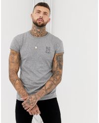 Bershka - Muscle Fit T-shirt In Gray With Chest Print - Lyst