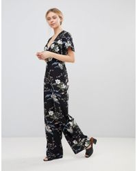 Girls On Film - Floral Jumpsuit With Kimono Sleeves - Lyst
