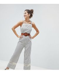 Reclaimed (vintage) - Inspired Tie Shoulder Jumpsuit With Crochet Inserts - Lyst