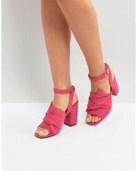 Park Lane - Oversized Knot Front Heel Sandals - Lyst