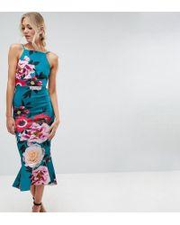 ASOS - Floral Pinny Midi Dress With Pephem - Lyst