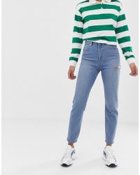 1f0132335a0 ASOS - Recycled Farleigh High Waisted Slim Mom Jeans In Light Vintage Wash  With Slash Thigh