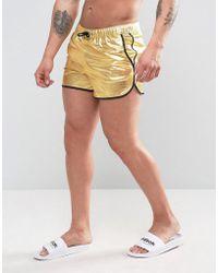 ASOS - Runner Swim Shorts In Gold Metallic In Short Length - Lyst