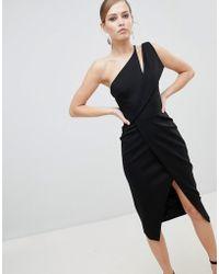 Lavish Alice - One Shoulder Midi Wrap Dress - Lyst