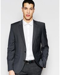SELECTED - Slim Suit Jacket In Charcoal Wool Blend - Lyst